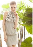 迷人魅力◆荷叶层次领包臀连身裙(灰色)