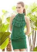 迷人魅力◆荷叶层次领包臀连身裙(绿色)
