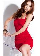 性感地帶◆绑脖绳抓皱连身裙(红色)