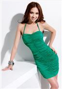 性感地帶◆绑脖绳抓皱连身裙(绿色)