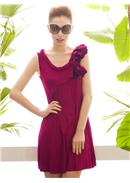萬千寵愛◆立体花朵饰肩荷叶斜连身裙(紫红)