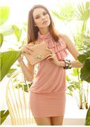 迷人魅力◆荷叶层次领包臀连身裙(粉色)