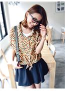 Extra Large~Colorful Cotton Blouse(Almond)