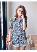 Extra Large~Colorful Cotton Blouse(Blue)