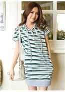 Extra Large~Cotton Long T-Shirt Dress(Green)
