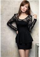Lace Cotton Dress (Black)