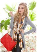 个性時尚◆丝巾围腰显瘦修身长外套(灰色)