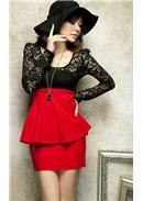 蕾丝拼接荷叶腰修身连身裙(红色)