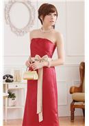 大尺码~优雅压褶高贵窈窕身姿拼色长裙(玫瑰红)