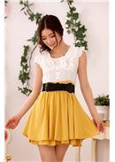 大尺码~ 清新优雅撞色V领短袖连身裙(黄色)