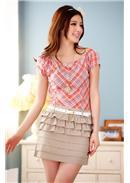 大尺码~魅力学院格子风短袖连身裙(橘红)