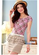 大尺码~魅力学院格子风短袖连身裙(紫色)
