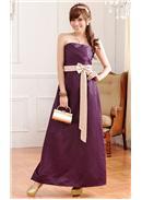 大尺码~优雅压褶高贵窈窕身姿拼色长裙(紫色)