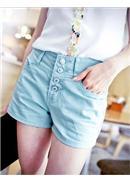 時髦鉚釘裝飾排釦造型牛仔短褲(蓝色)