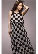 黑白配色格纹缩腰长裙(黑白)