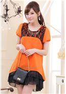 大尺码~圆领短袖荷叶摆宽松雪纺连身裙(橘色)