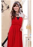 大尺码~高贵V领蕾丝控长裙(红色)