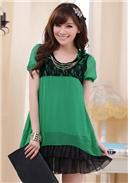 大尺码~圆领短袖荷叶摆宽松雪纺连身裙(绿色)