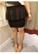 大尺码~时尚百搭西装包臀裙(黑色)