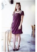 大尺码~高贵优雅别致连身裙(紫色)