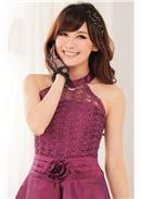 宫廷高贵公主蕾丝围脖礼服(紫红)