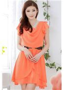 气质不规则显瘦雪纺连身裙(橘色)