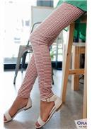 学院风格纹弹性小脚铅笔裤(西红)
