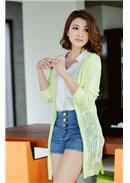 率性迷人彩色镂空针织长外套(浅绿)