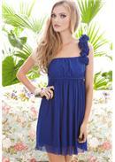立体迷人花朵单肩花性感连身裙(蓝色)