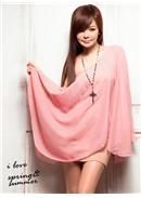 女神挑战◆斜肩设计雪纺背心连身裙(粉色)