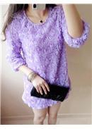 大尺码~立体玫瑰7分袖长上衣(紫色)