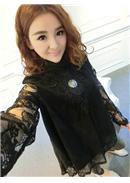 复古蕾丝长袖衬衫(黑色)