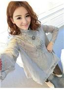 复古蕾丝长袖衬衫(浅灰)