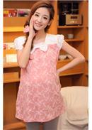 韩版蝴蝶结蕾丝肩短袖上衣(粉色)