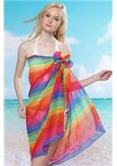 特价~彩虹条沙滩围纱