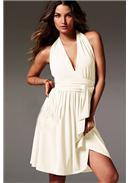 性感挂脖露背沙滩裙(白色)