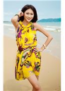 波西米亚碎花沙滩裙(黄色)