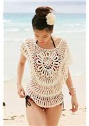 沙滩宠儿镂空比基尼罩衫(米白)