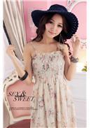 玫瑰碎花裹胸雪纺长裙(粉色)