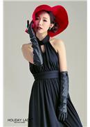 优雅高领性感露背连身裙(黑色)
