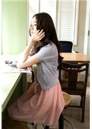 大尺码~针织镂空波浪纹开襟短外套(浅紫)