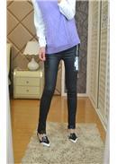 显瘦蕾丝脚裤孕妇打底裤(黑色)