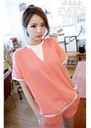 短袖休闲短袖孕妇套装(粉色)