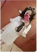 纯色休闲孕妇雪纺上衣(白色)