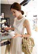 天使纯色雪纺连身裙(白色)