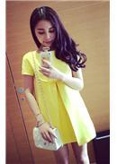 夏装孕妇连身裙(黄色)