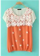 大尺码~镂空拼色花朵雪纺衫(橘色)