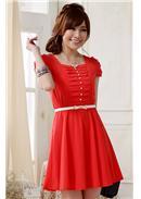 大尺码~单排扣收腰显瘦大摆连身裙(红色)