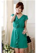大尺码~收腰荷叶边短袖V领雪纺连身裙(绿色)