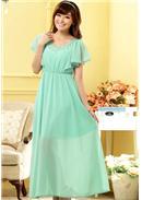 亮丽荷叶袖钉珠长裙(蓝绿)